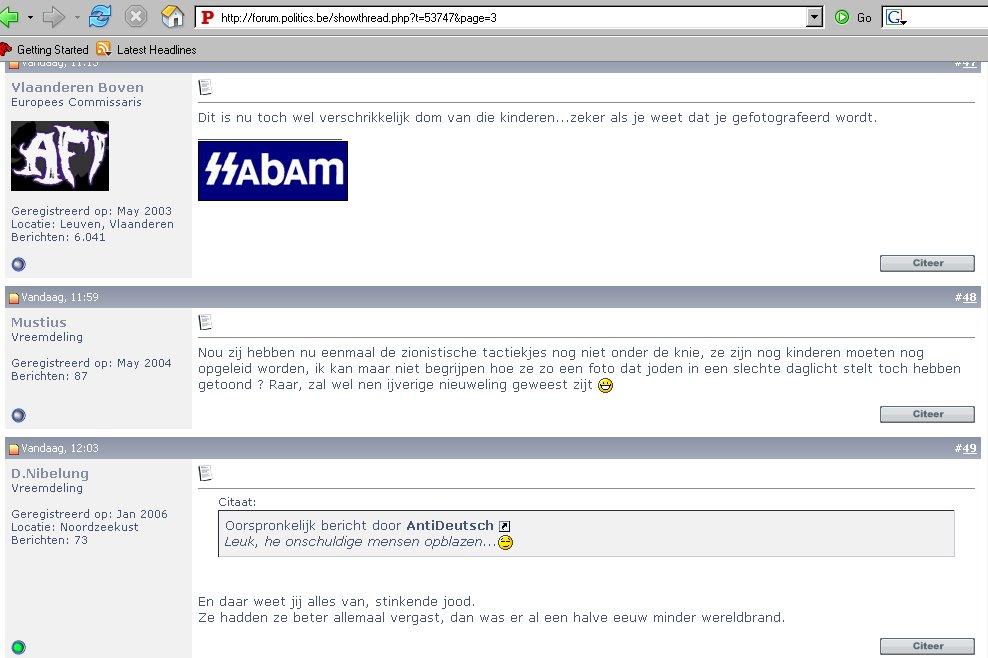 Propos antisémites tenu sur un forum internet