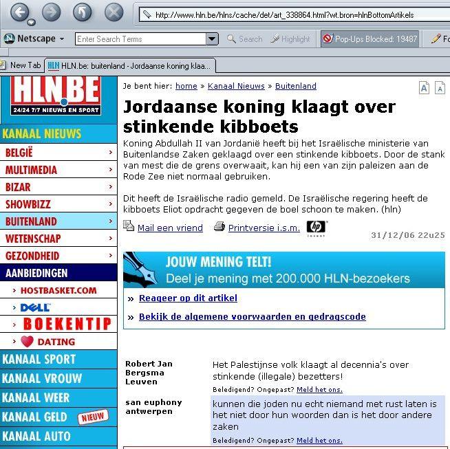Propos antisémites sur le forum du site internet du Het Laatste Nieuws