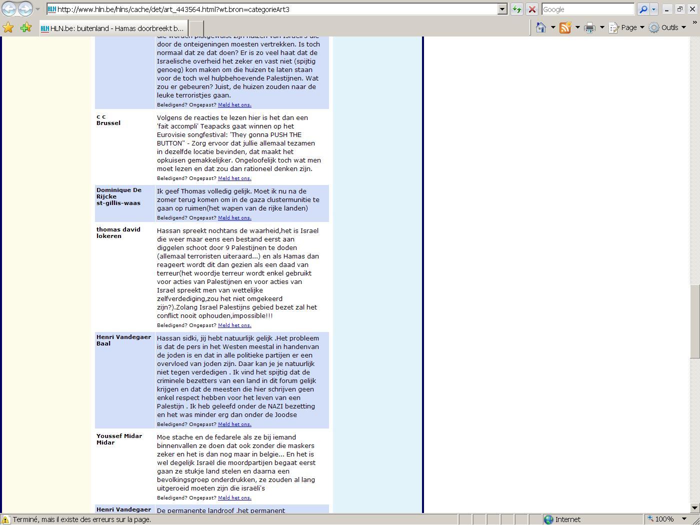 Propos antisémites et négationnistes sur un forum internet de Het Laatste Nieuws