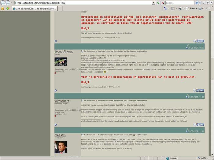 Publication de propos négationnistes sur le forum de Kif Kif