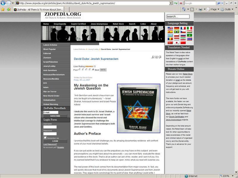 Lien vers des sites antisémites et négationnistes sur le site de l'Université de Gand