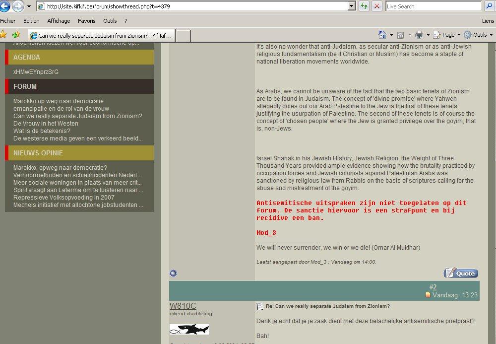Déclarations antisémites sur le forum internet de Kif Kif