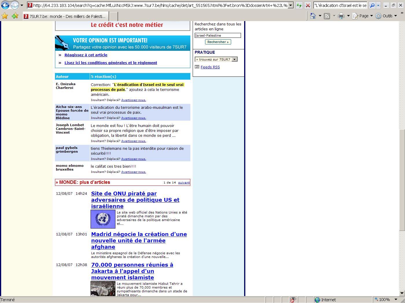 Propos antisémites tenus sur le forum internet de 7sur7