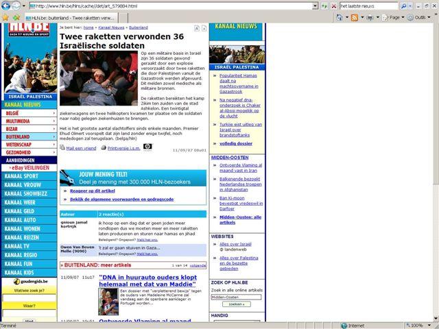 Propos antisémites sur le forum internet du quotidien flamand « Het Laatste Nieuws »