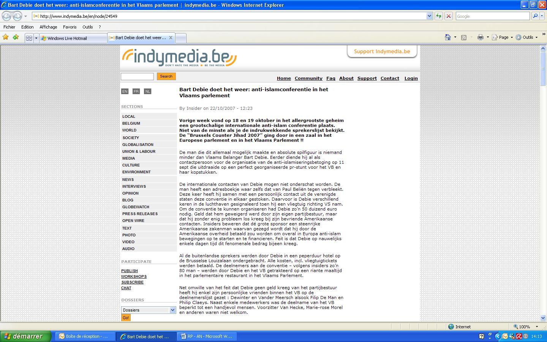 Allusion antisémite sur le site www.indymedia.be