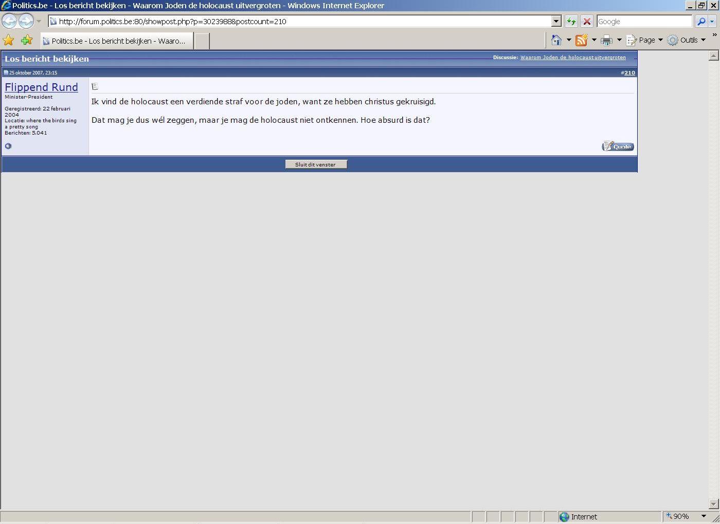 Propos antisémites sur le site forum.politics.be