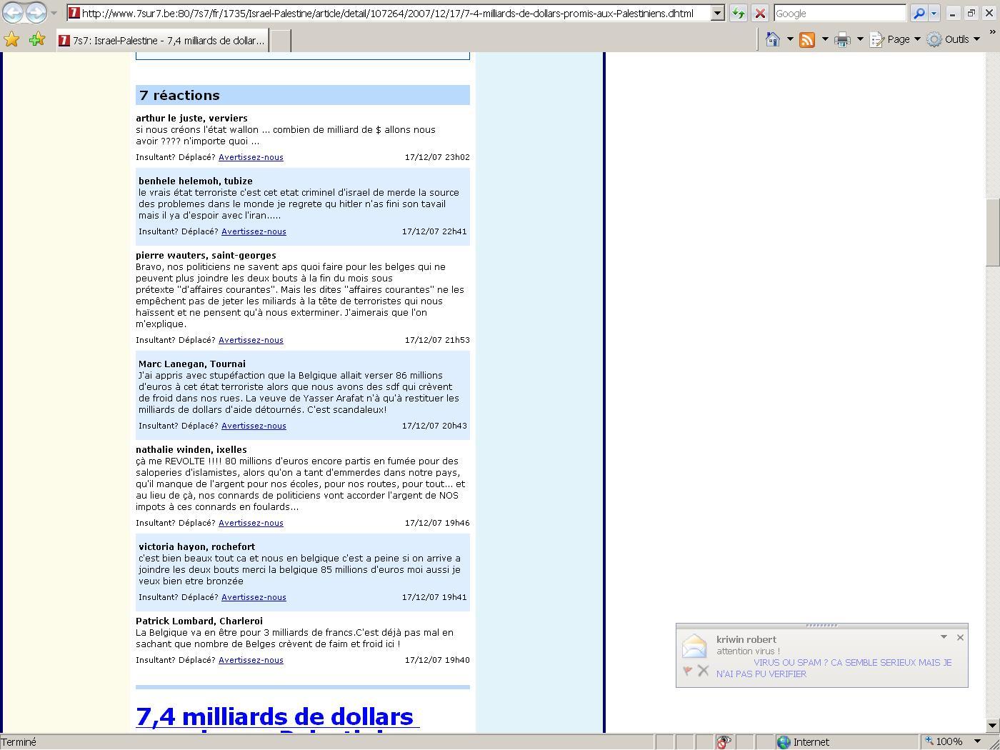 Commentaires antisémites sur le site www.7sur7.be